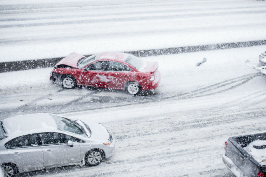 Dangerous Car Accident Snow On Highway
